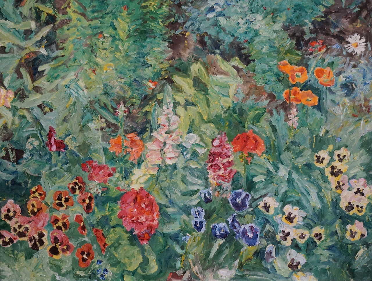 Canadian Landscapes by Dorothy Knowles Pansies in Bloom